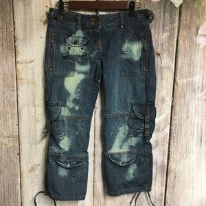 Upcycled Bleach 9 Pocket Cropped Cargo Jeans (2)